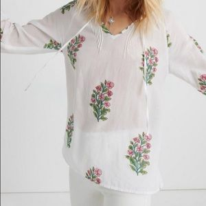 Lucky Brand:Blouse Woodblock Pintuck Peasant  M